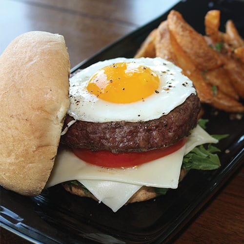8oz burger with egg