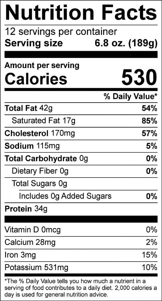 brisket flat nutrition