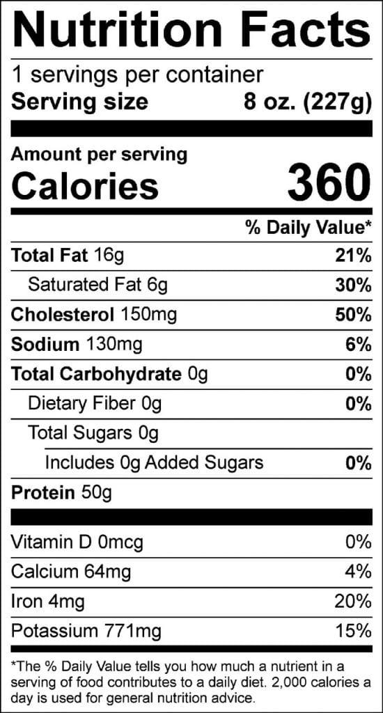 8oz filet nutrition
