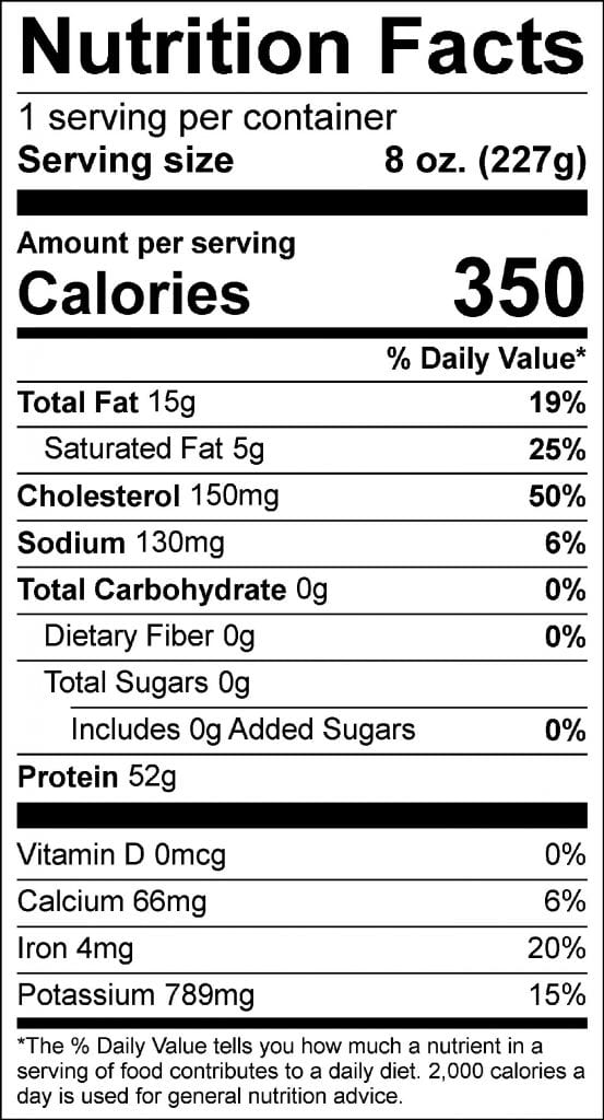 8oz ny strip nutrition