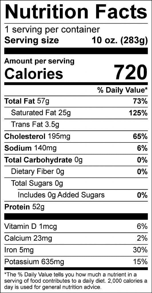 10oz ribeye nutrition