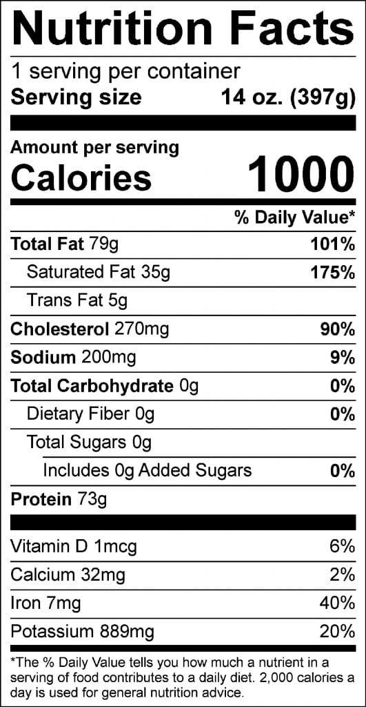 14oz ribeye nutrition facts