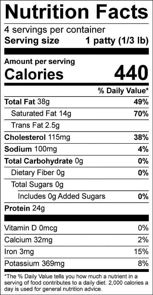 1/3rd pound patties nutrition