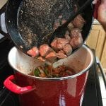 Add sirloin tips to stock pot