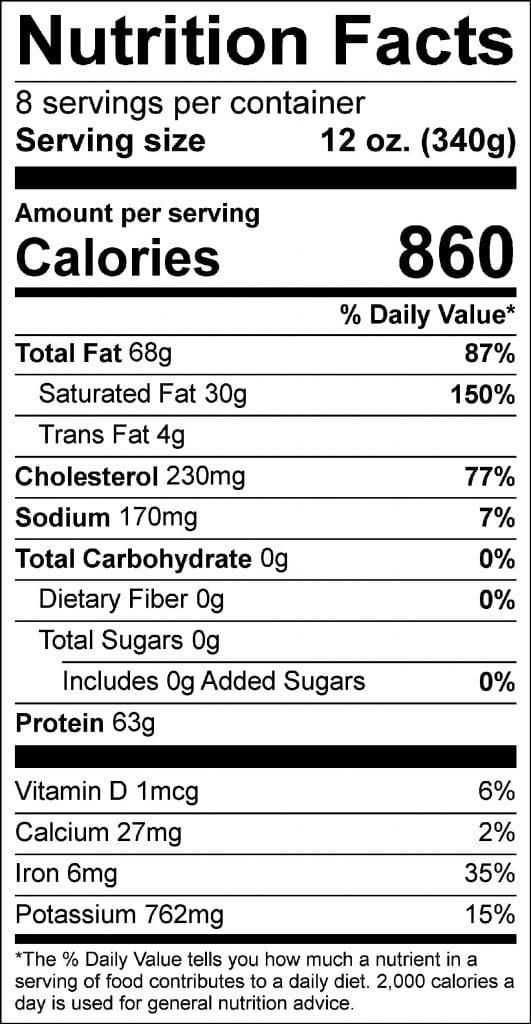 6lb prime rib nutrition