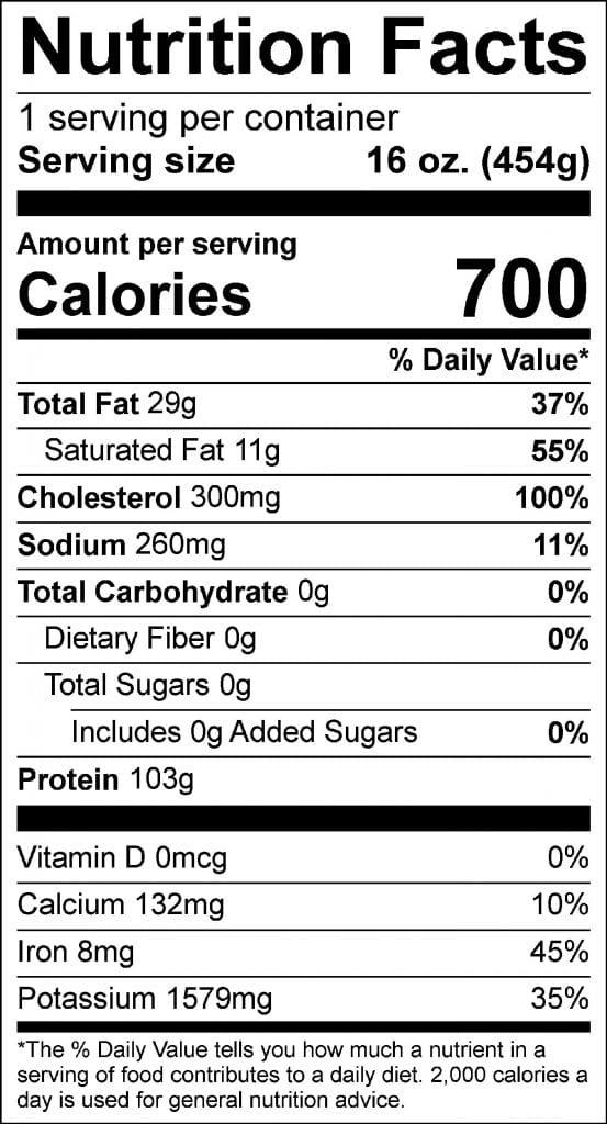 16oz ny strip nutrition