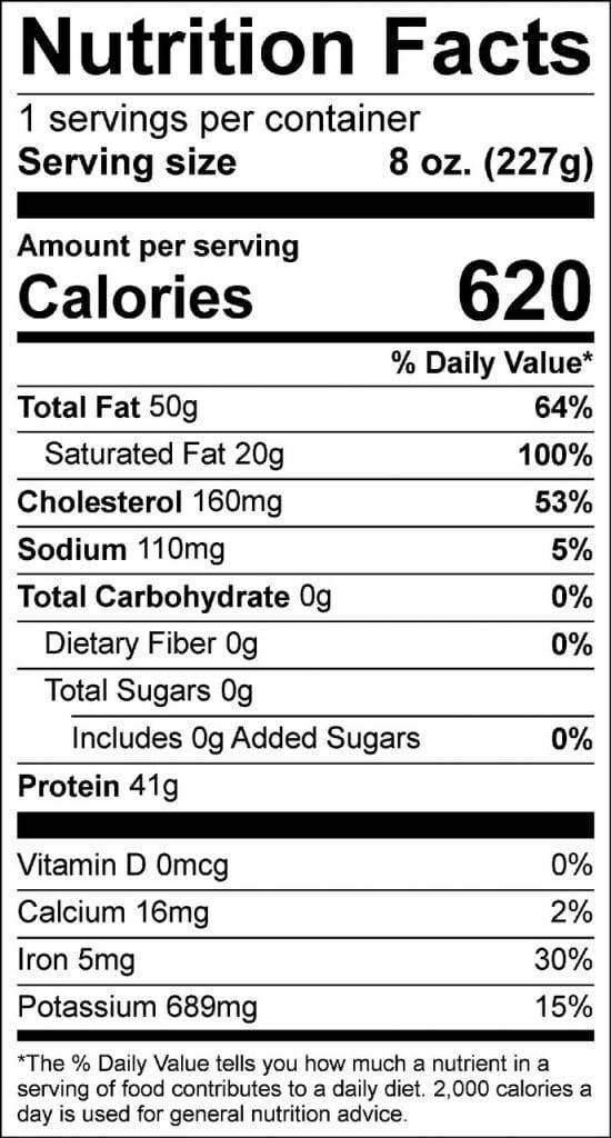 8oz prime filet nutrition