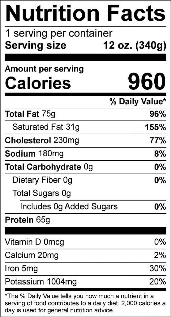 prime strip nutrition