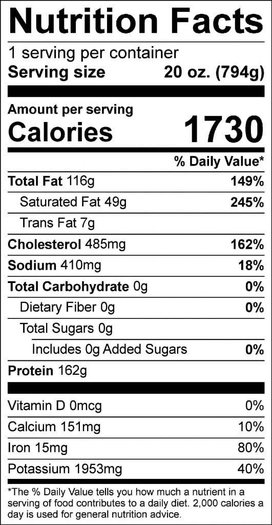28oz porterhouse nutrition