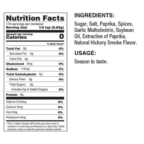 bbq dry rub nutrition