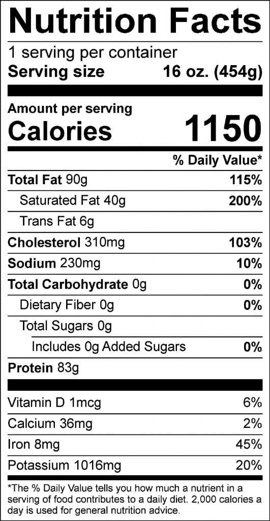 16oz ribeye nutrition