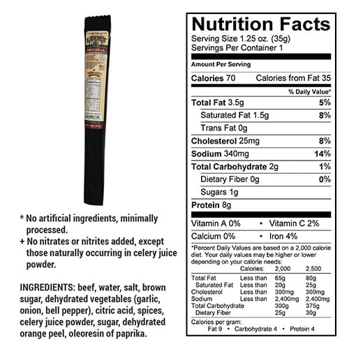 original stick nutrition