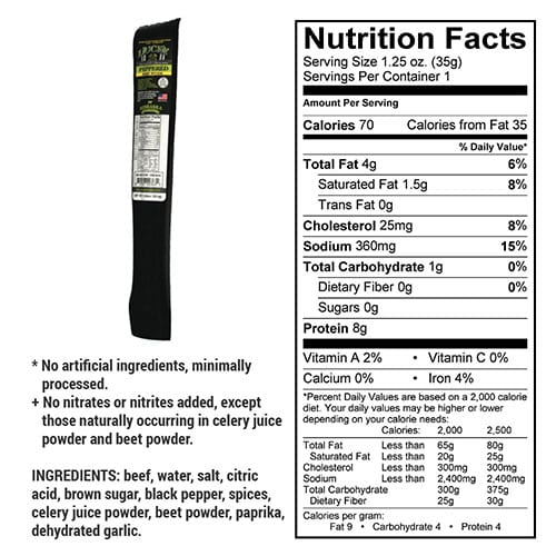peppered stick nutrition