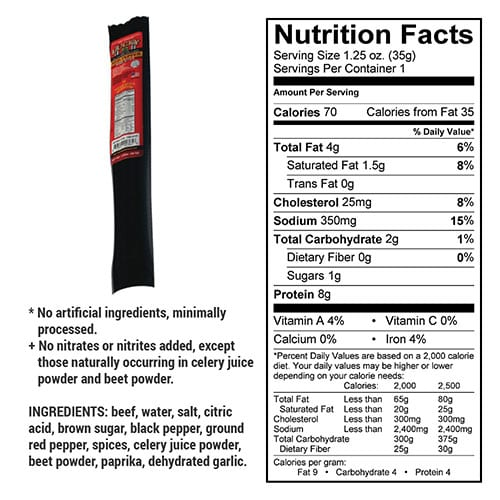 red pepper stick nutrition