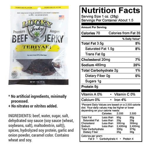1.5oz teriyaki nutrition