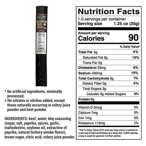 bbq beef stick nutrition