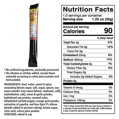 sweet & spicy stick nutrition