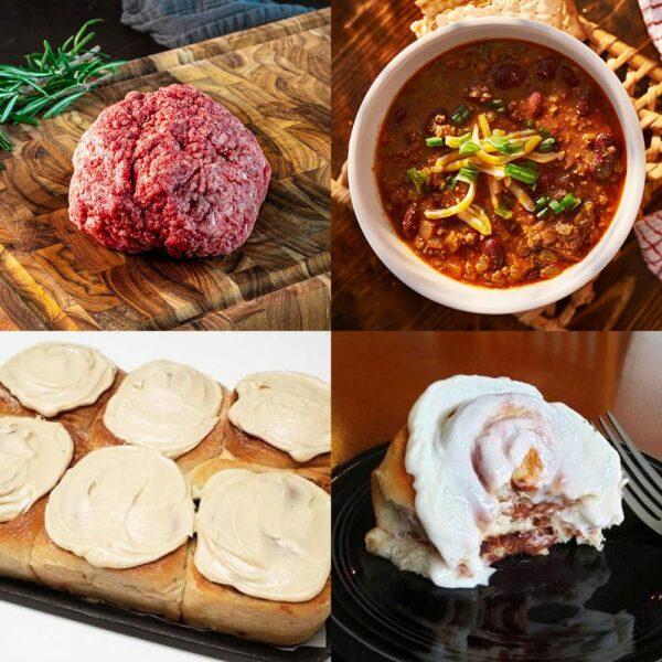 beef and cinnamon rolls bundle