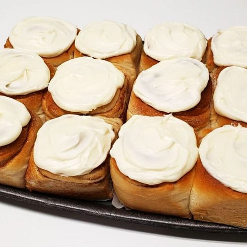 12 frosted cinnamon rolls