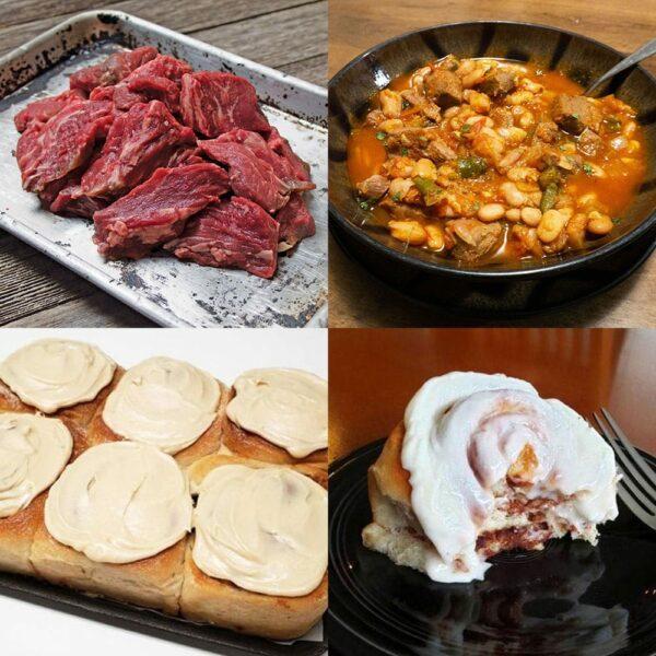 loin tips and cinnamon rolls